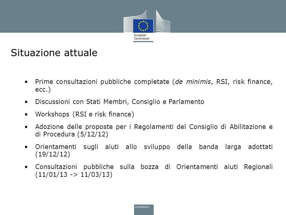 Situazione attuale Prime consultazioni pubbliche completate (de minimis, RSI, risk finance, ecc.)
