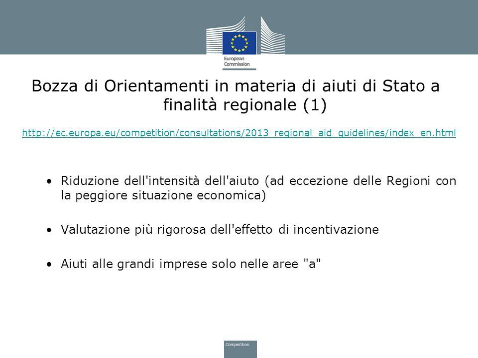 Bozza di Orientamenti in materia di aiuti di Stato a finalità regionale (1)