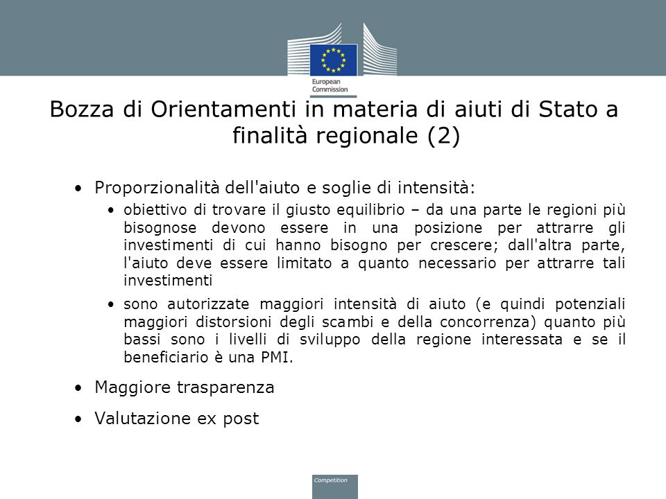 Bozza di Orientamenti in materia di aiuti di Stato a finalità regionale (2)