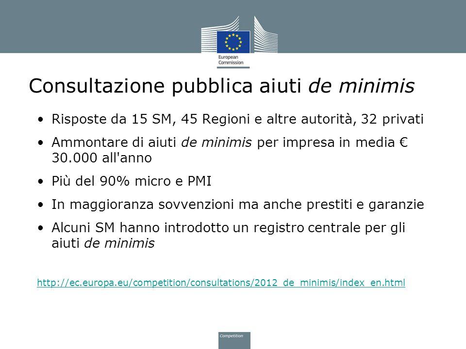 Consultazione pubblica aiuti de minimis