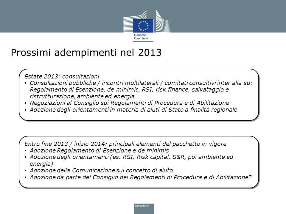 Prossimi adempimenti nel 2013