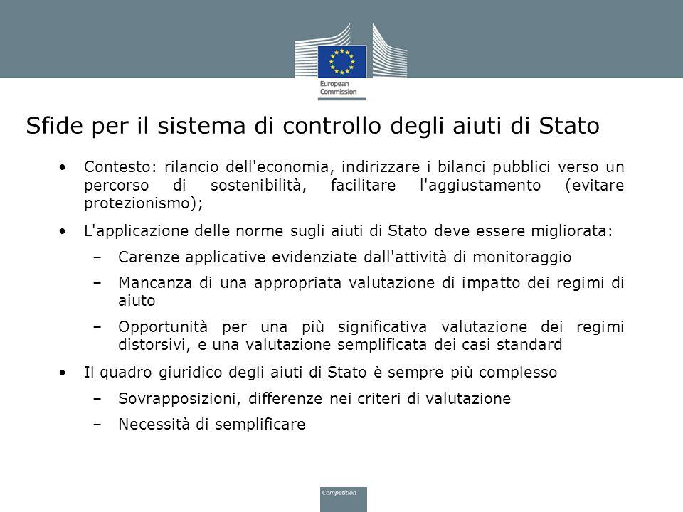 Sfide per il sistema di controllo degli aiuti di Stato