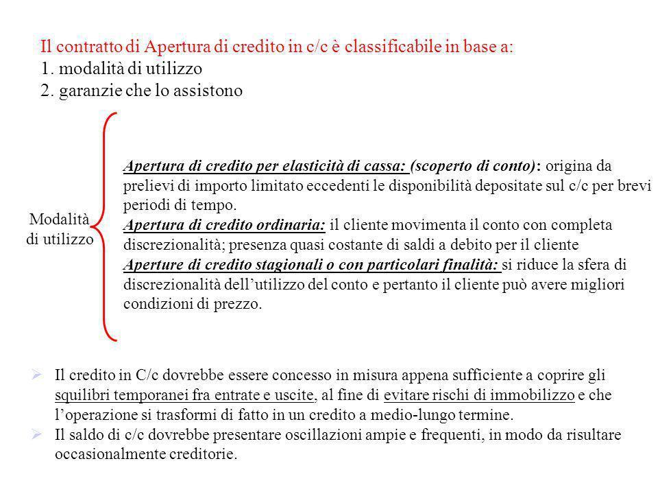 Il contratto di Apertura di credito in c/c è classificabile in base a: 1. modalità di utilizzo 2. garanzie che lo assistono