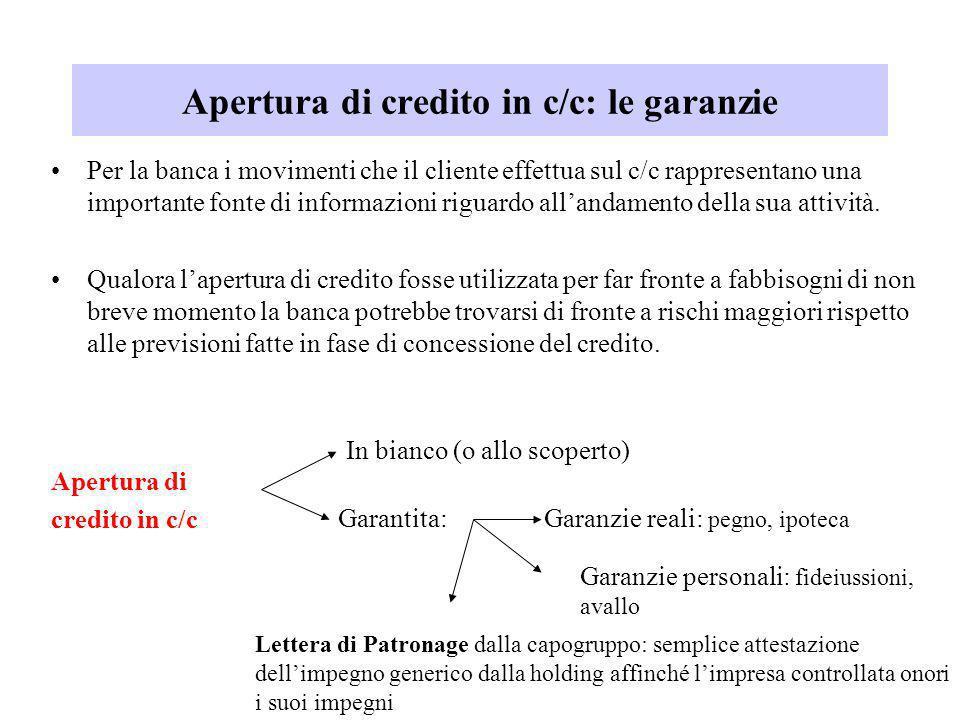 Apertura di credito in c/c: le garanzie