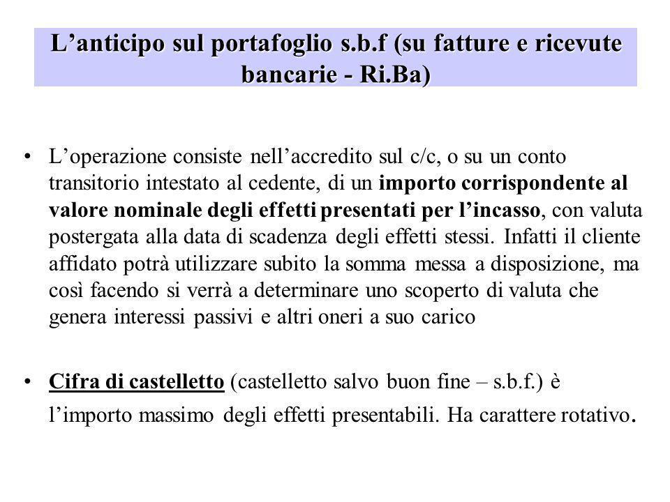 L'anticipo sul portafoglio s.b.f (su fatture e ricevute bancarie - Ri.Ba)