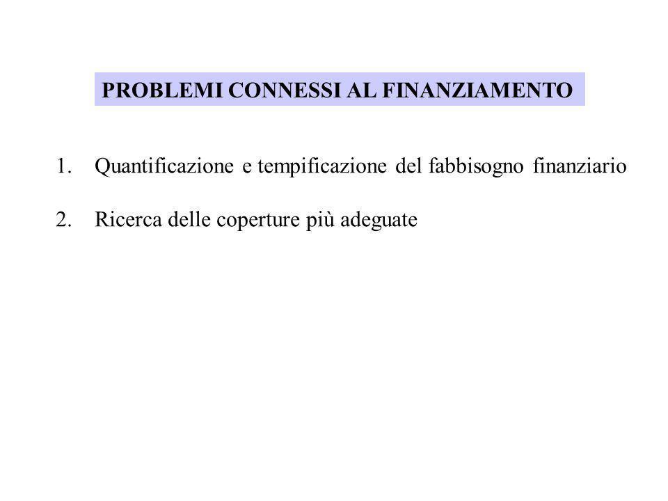 PROBLEMI CONNESSI AL FINANZIAMENTO