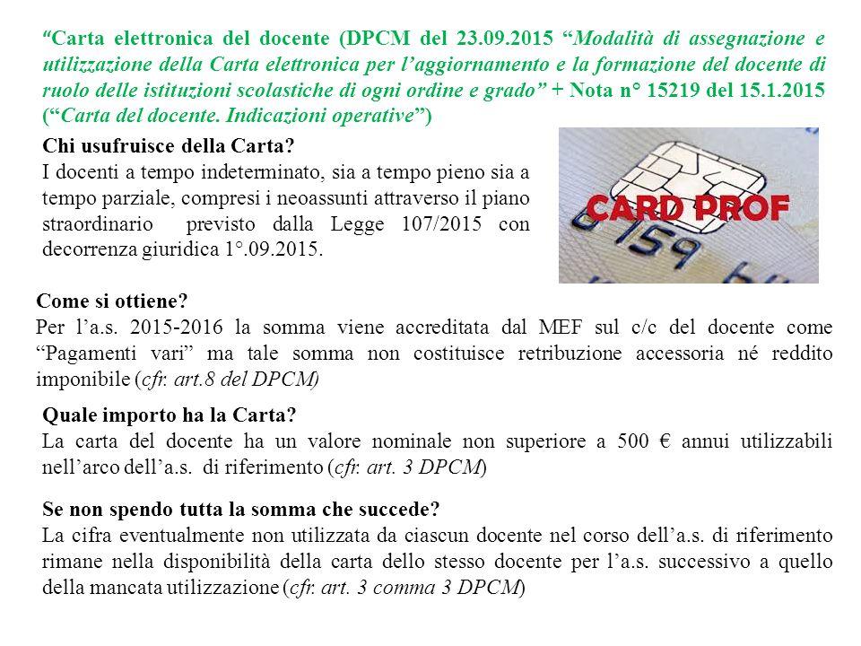 Carta elettronica del docente (DPCM del 23. 09