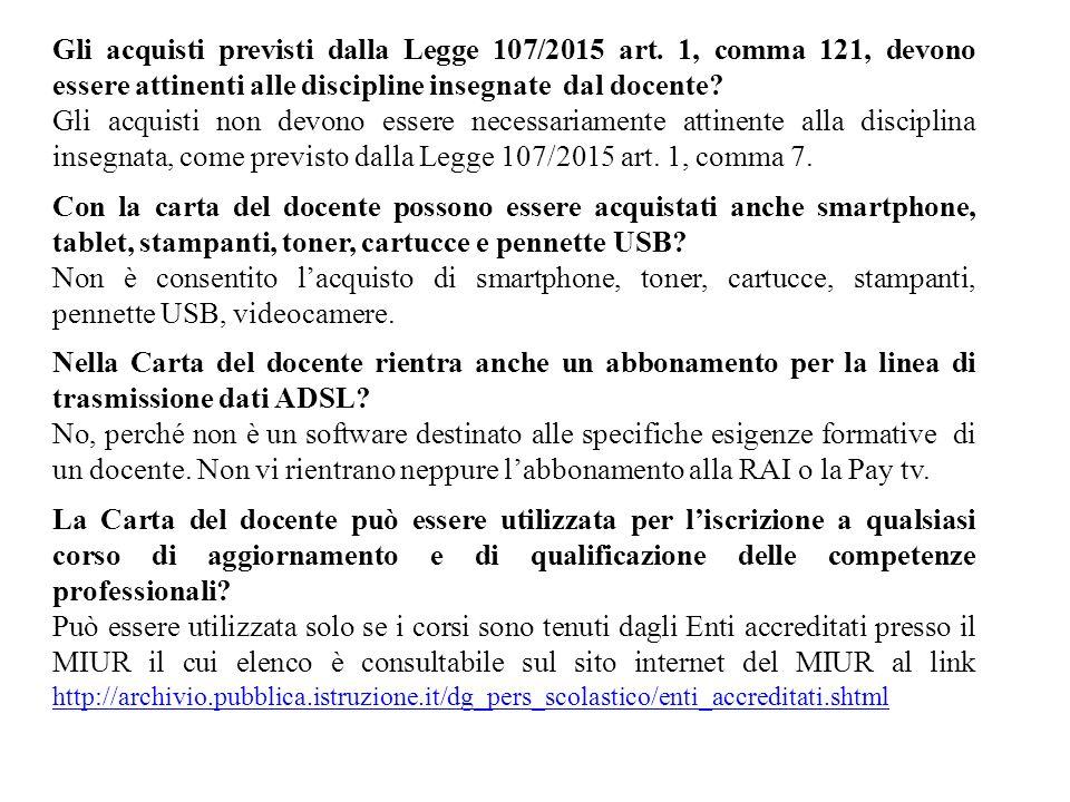 Gli acquisti previsti dalla Legge 107/2015 art