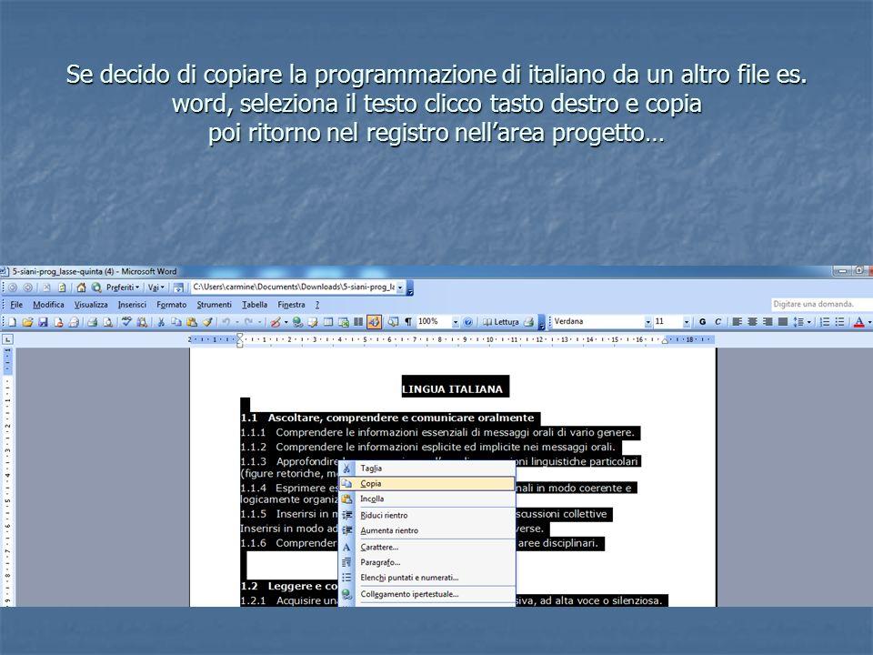 Se decido di copiare la programmazione di italiano da un altro file es