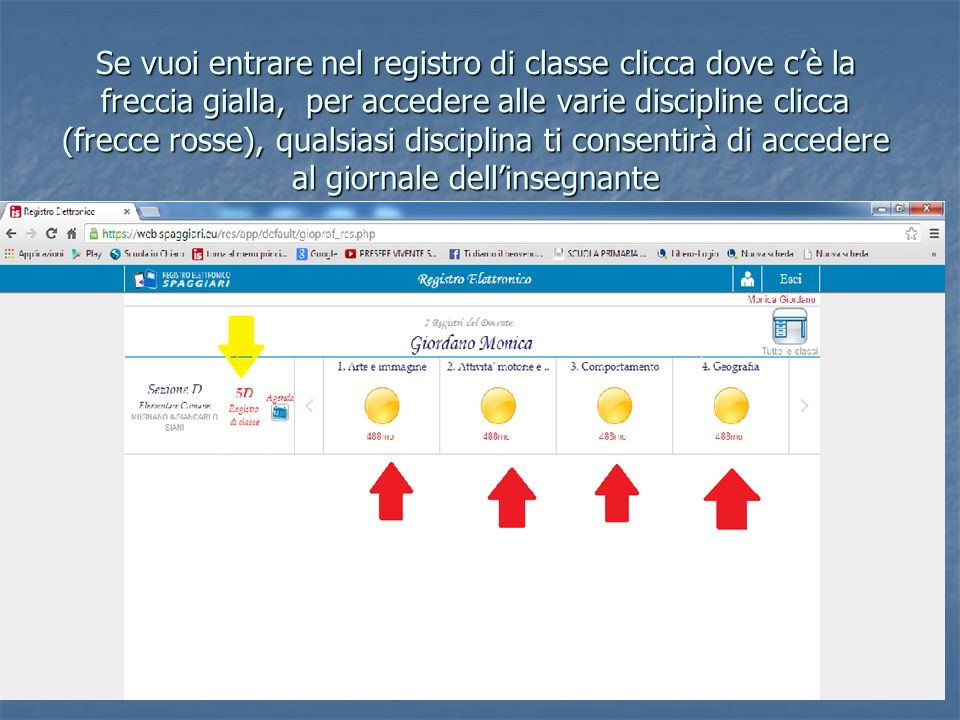 Se vuoi entrare nel registro di classe clicca dove c'è la freccia gialla, per accedere alle varie discipline clicca (frecce rosse), qualsiasi disciplina ti consentirà di accedere al giornale dell'insegnante