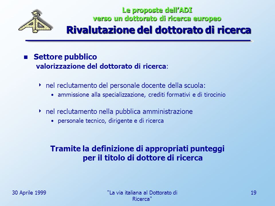 La via italiana al Dottorato di Ricerca