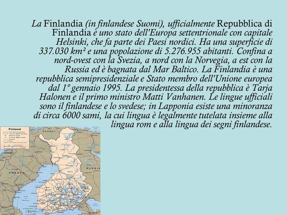 La Finlandia (in finlandese Suomi), ufficialmente Repubblica di Finlandia è uno stato dell Europa settentrionale con capitale Helsinki, che fa parte dei Paesi nordici.