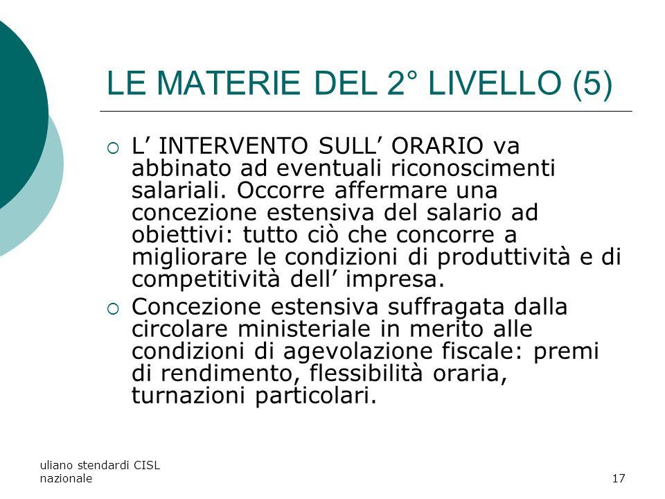 LE MATERIE DEL 2° LIVELLO (5)