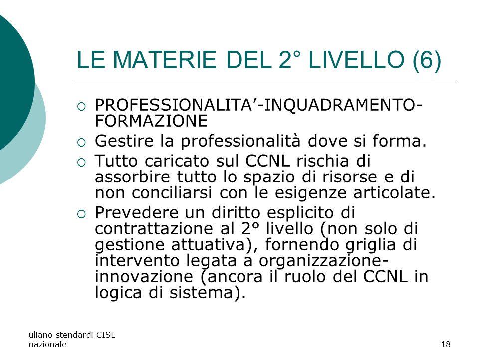 LE MATERIE DEL 2° LIVELLO (6)
