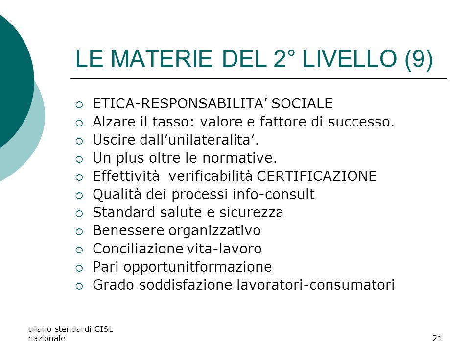 LE MATERIE DEL 2° LIVELLO (9)