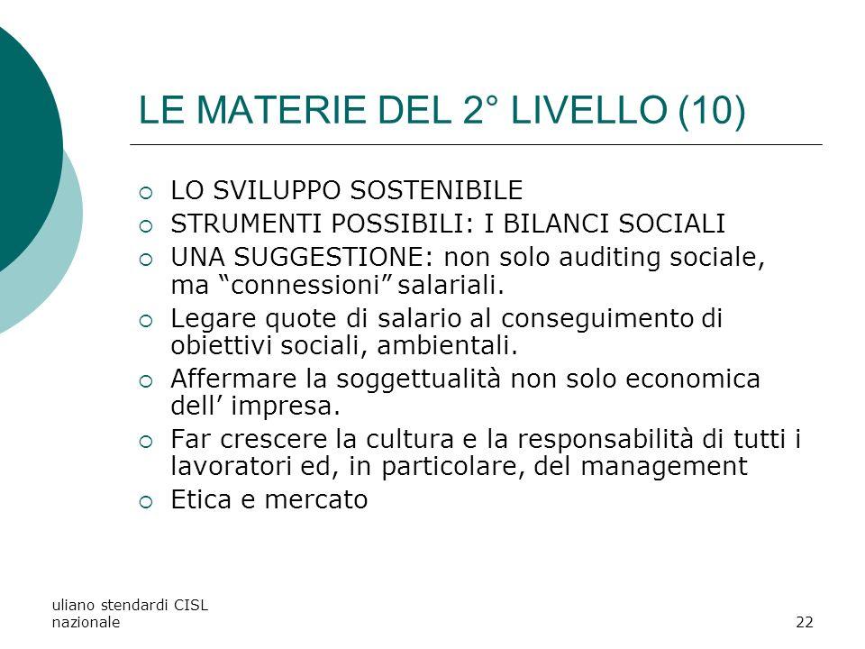 LE MATERIE DEL 2° LIVELLO (10)