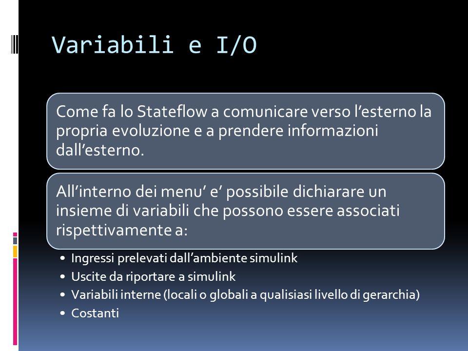 Variabili e I/O Come fa lo Stateflow a comunicare verso l'esterno la propria evoluzione e a prendere informazioni dall'esterno.