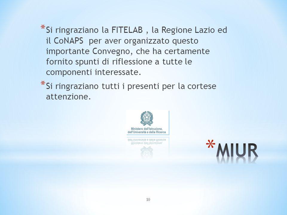Si ringraziano la FITELAB , la Regione Lazio ed il CoNAPS per aver organizzato questo importante Convegno, che ha certamente fornito spunti di riflessione a tutte le componenti interessate.