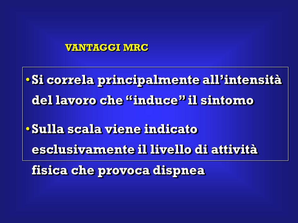 VANTAGGI MRC Si correla principalmente all'intensità del lavoro che induce il sintomo.