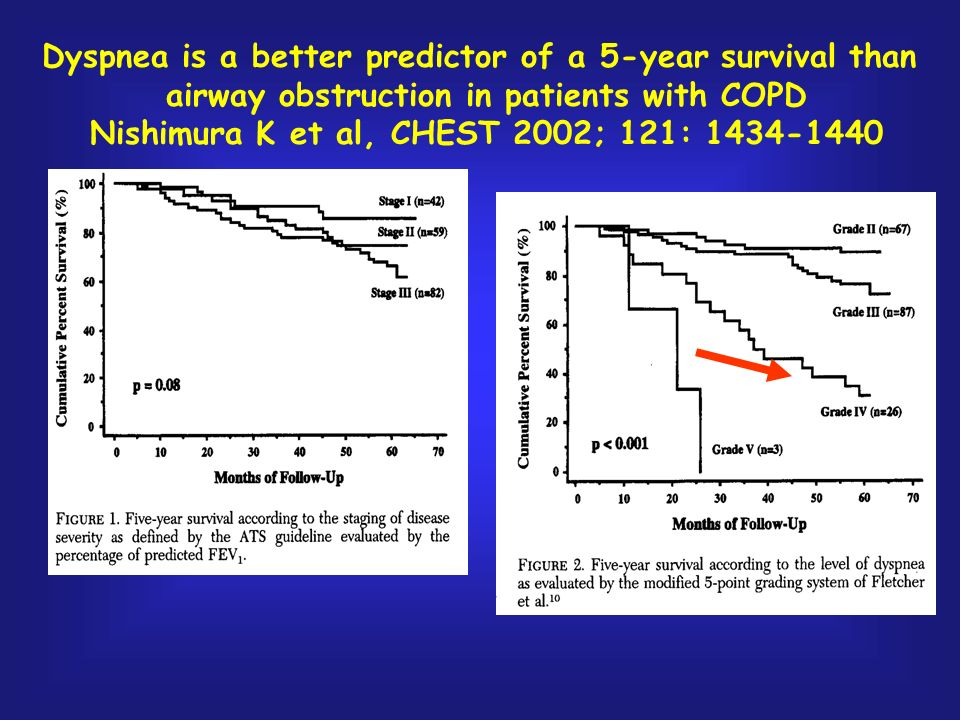 Dyspnea is a better predictor of a 5-year survival than