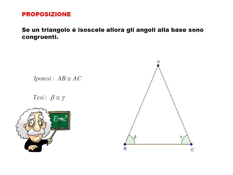 PROPOSIZIONE Se un triangolo è isoscele allora gli angoli alla base sono congruenti.
