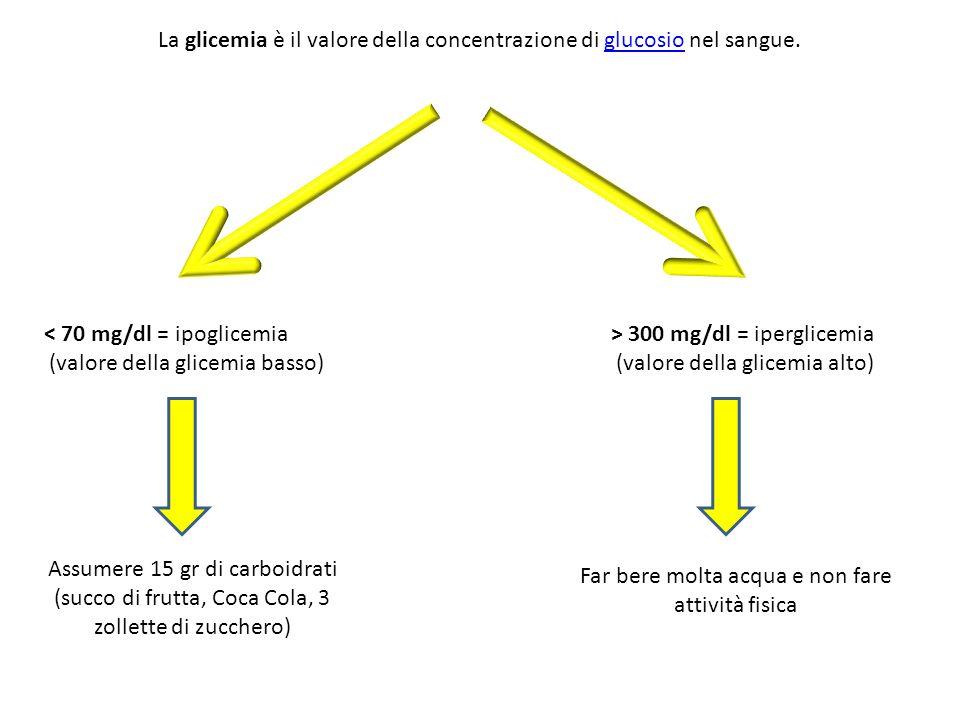 La glicemia è il valore della concentrazione di glucosio nel sangue.