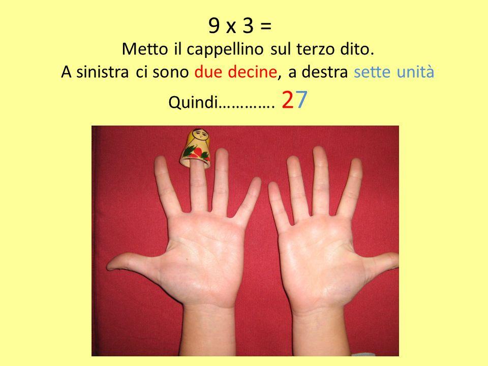 9 x 3 = Metto il cappellino sul terzo dito.