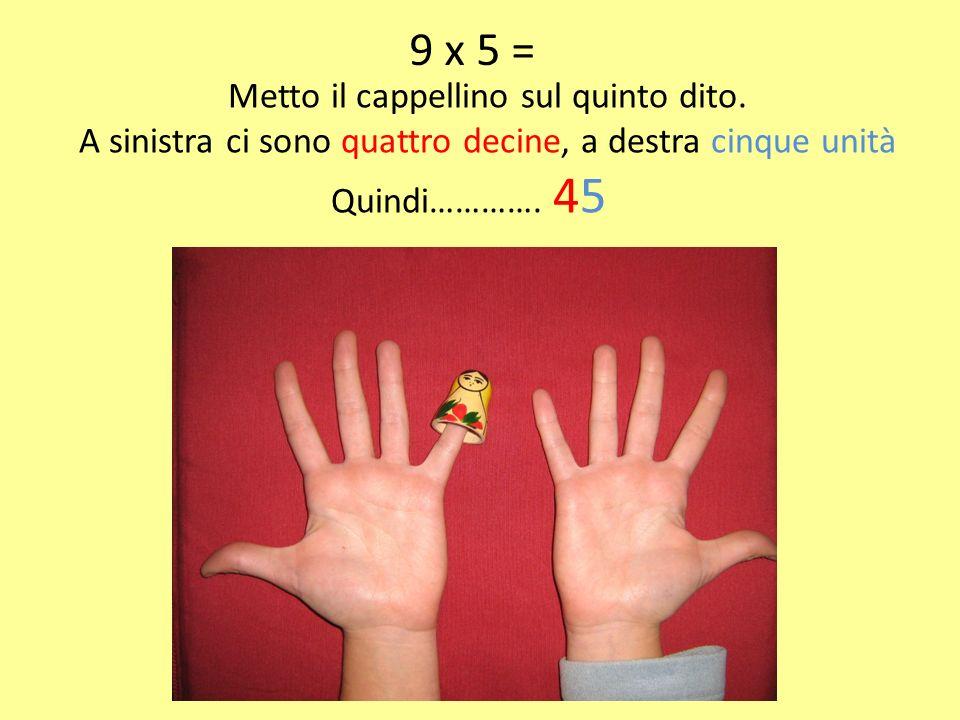 9 x 5 = Metto il cappellino sul quinto dito.