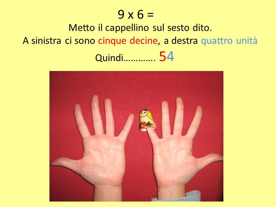 9 x 6 = Metto il cappellino sul sesto dito.