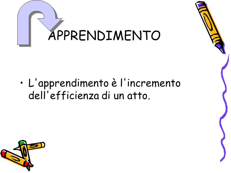 APPRENDIMENTO L apprendimento è l incremento dell efficienza di un atto.