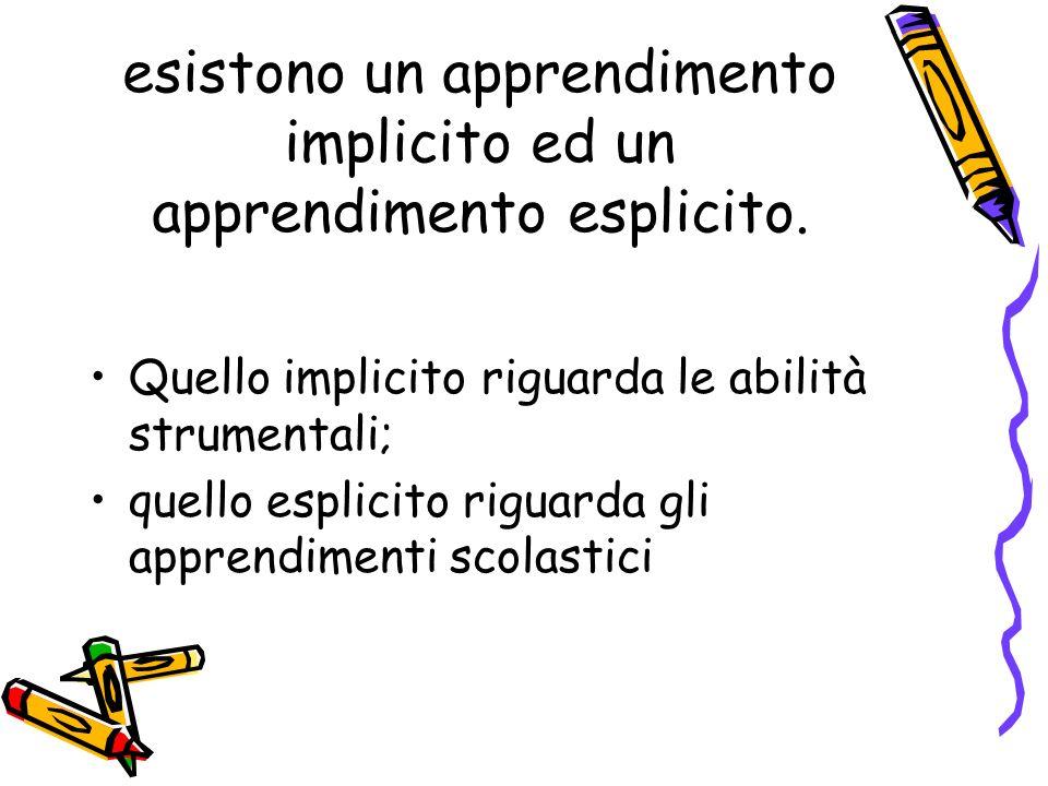 esistono un apprendimento implicito ed un apprendimento esplicito.