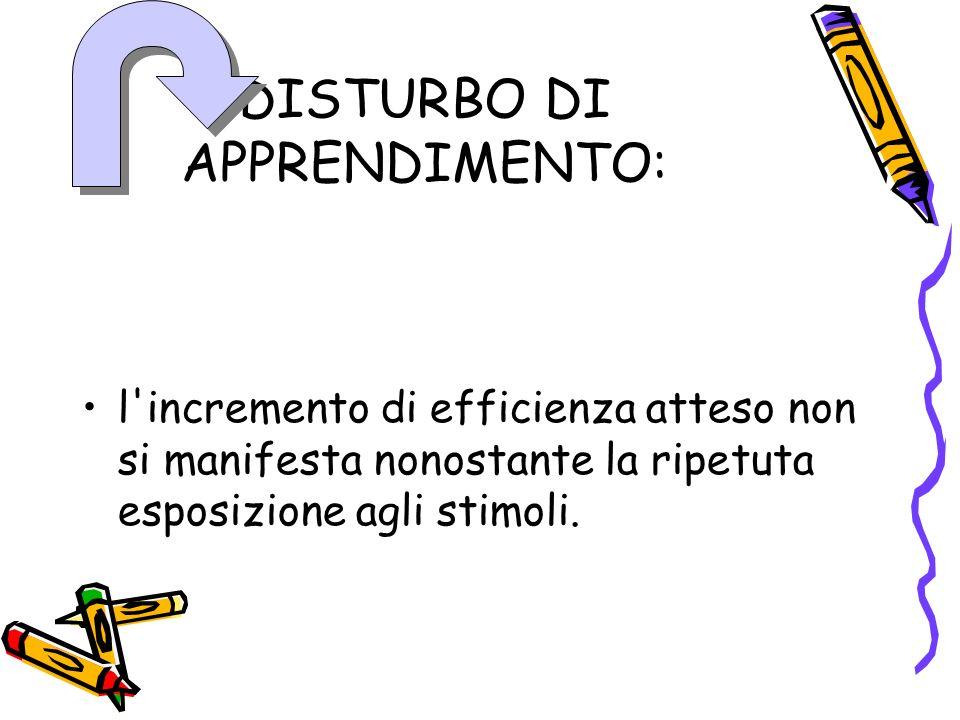 DISTURBO DI APPRENDIMENTO: