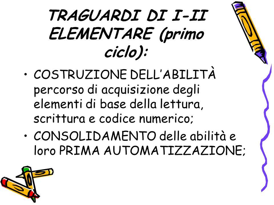 TRAGUARDI DI I-II ELEMENTARE (primo ciclo):