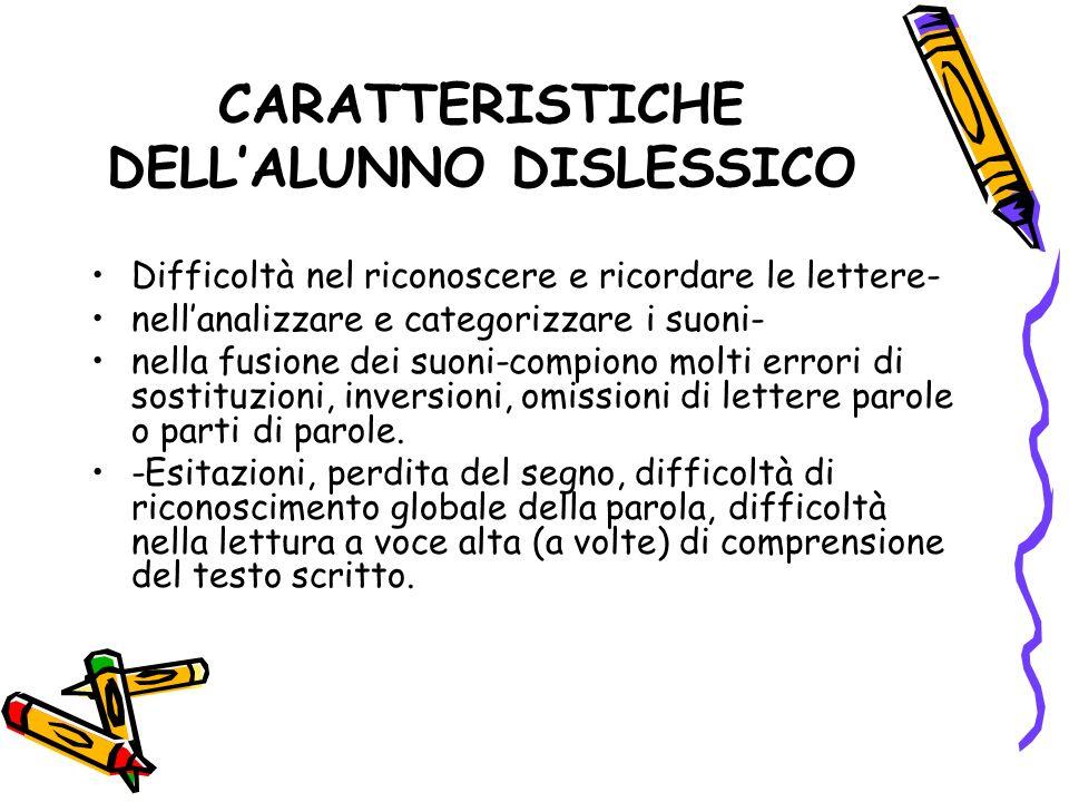 CARATTERISTICHE DELL'ALUNNO DISLESSICO
