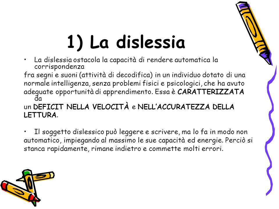 1) La dislessia La dislessia ostacola la capacità di rendere automatica la corrispondenza.
