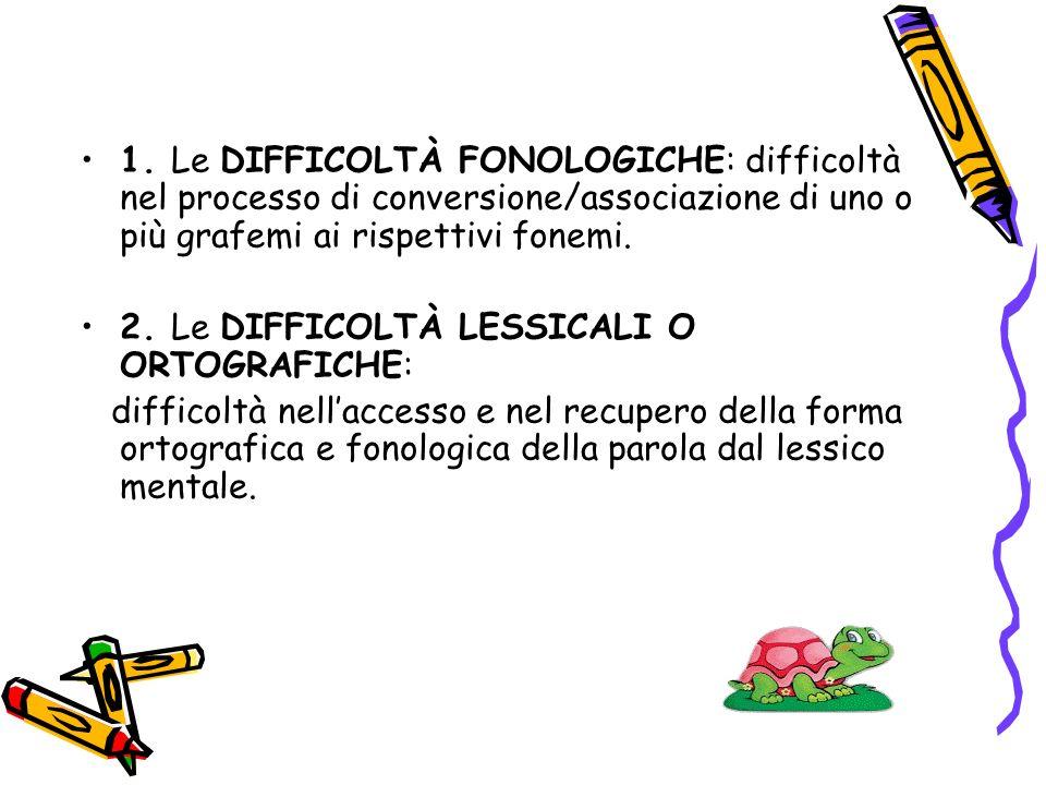 1. Le DIFFICOLTÀ FONOLOGICHE: difficoltà nel processo di conversione/associazione di uno o più grafemi ai rispettivi fonemi.