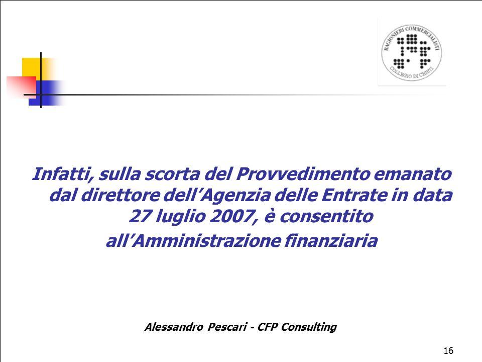 all'Amministrazione finanziaria Alessandro Pescari - CFP Consulting