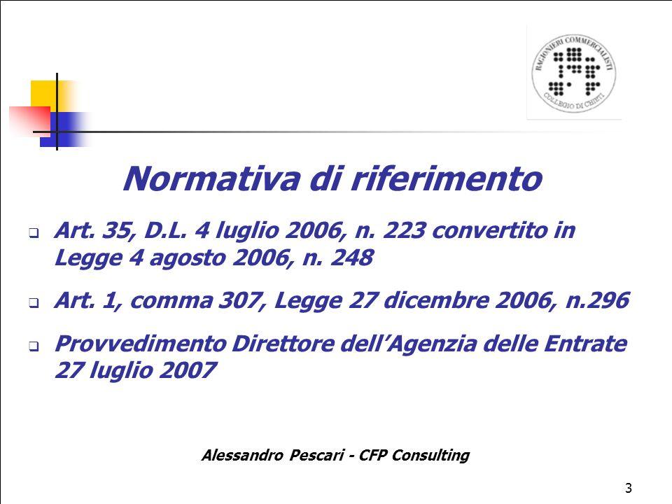Normativa di riferimento Alessandro Pescari - CFP Consulting