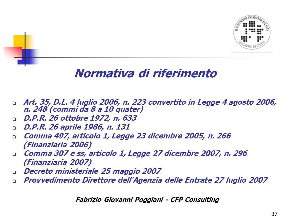 Normativa di riferimento Fabrizio Giovanni Poggiani - CFP Consulting