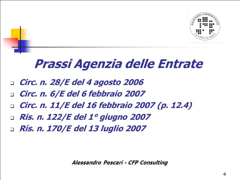 Prassi Agenzia delle Entrate Alessandro Pescari - CFP Consulting