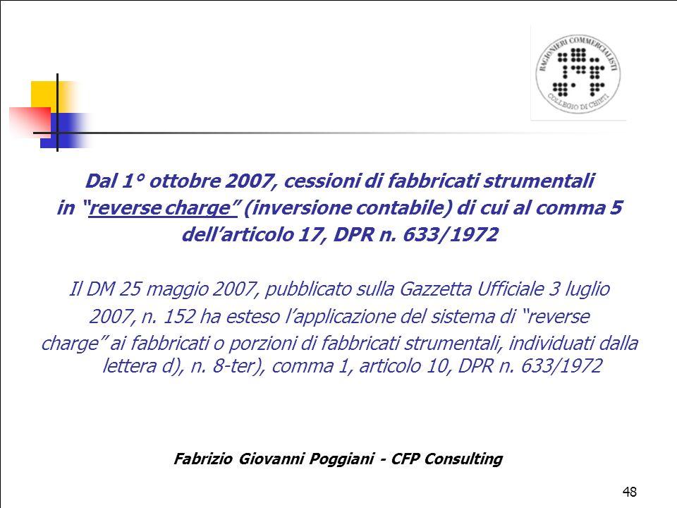 Dal 1° ottobre 2007, cessioni di fabbricati strumentali