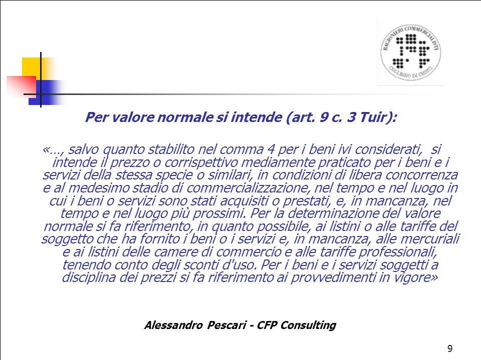 Per valore normale si intende (art. 9 c. 3 Tuir):