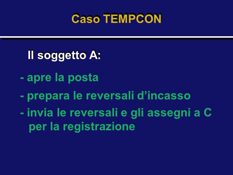 Caso TEMPCON Il soggetto A: - apre la posta. - prepara le reversali d'incasso.