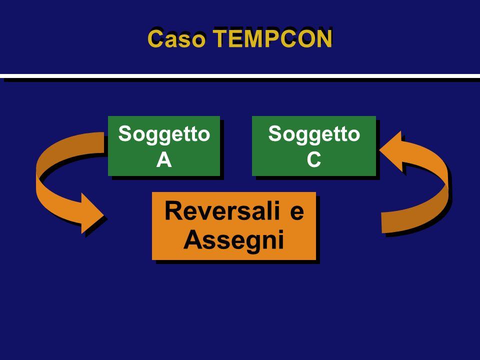 Caso TEMPCON Soggetto A Soggetto C Reversali e Assegni