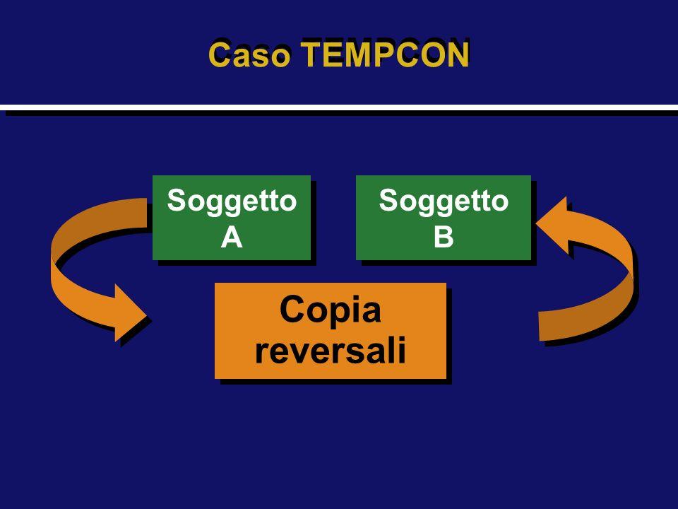 Caso TEMPCON Soggetto A Soggetto B Copia reversali
