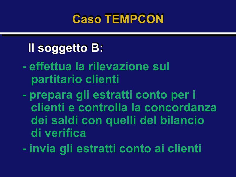 Caso TEMPCON Il soggetto B: - effettua la rilevazione sul partitario clienti.