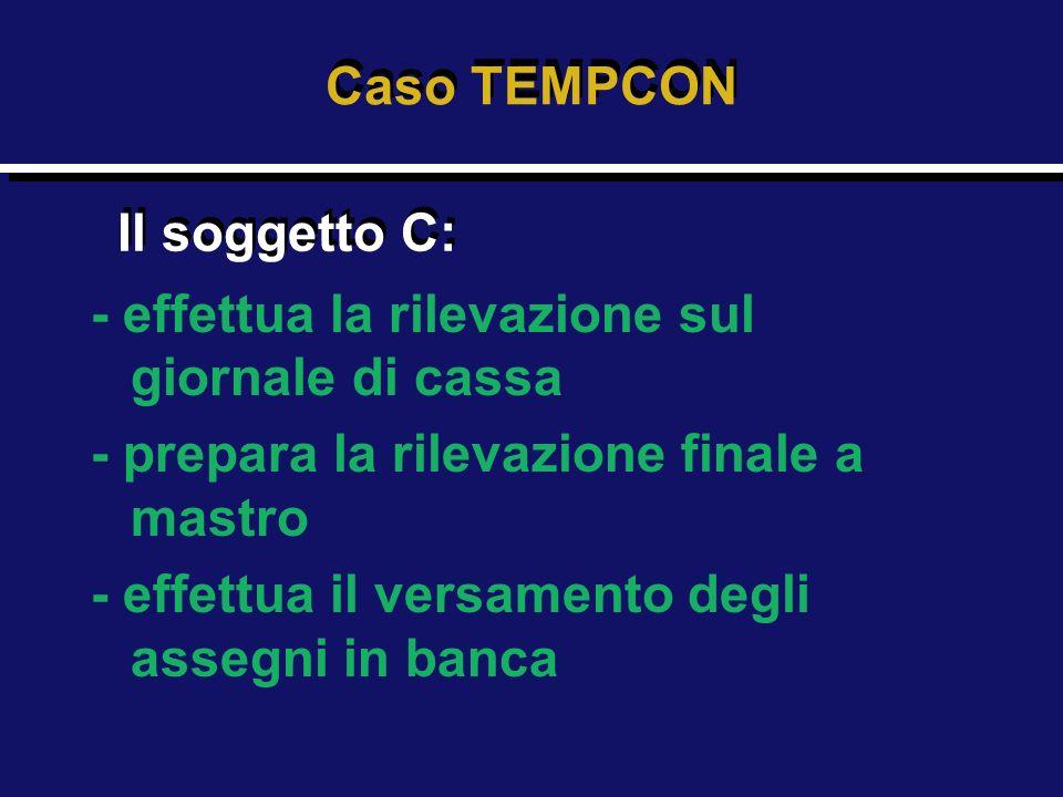 Caso TEMPCON Il soggetto C: - effettua la rilevazione sul giornale di cassa. - prepara la rilevazione finale a mastro.