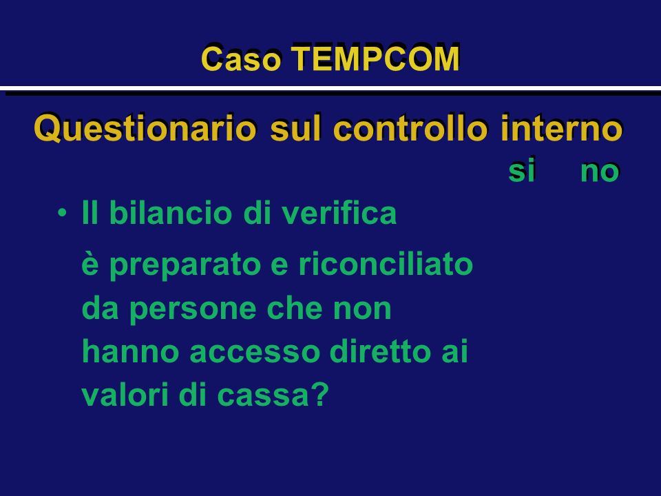 Questionario sul controllo interno