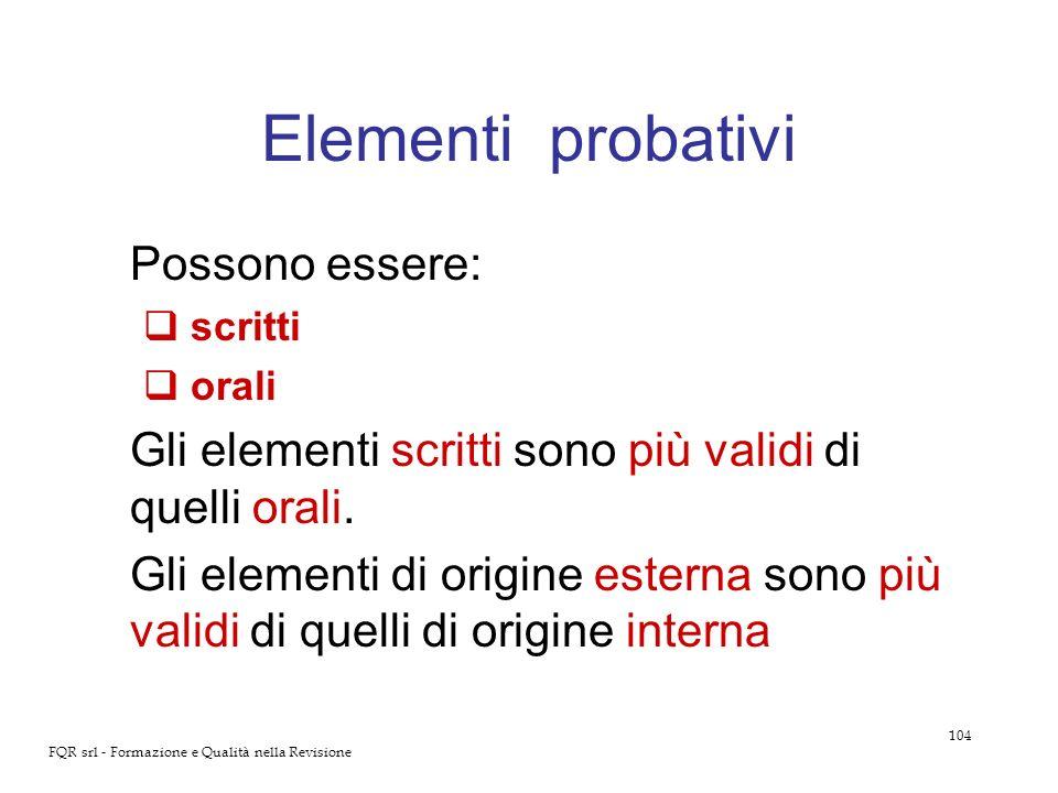 Elementi probativi Possono essere: