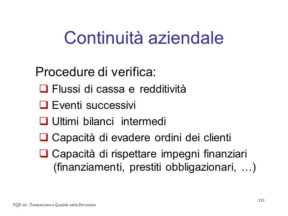 Continuità aziendale Procedure di verifica: